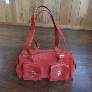GUC Maxx NY Red Gold Suede Leather Shoulder Bag